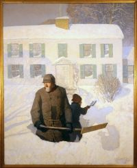 """N.C. Wyeth Holiday Cards, Needham, MA.  8 cards with envelopes; inside reads """"Season's Greetings"""" The Needham Historical Society's beloved """"Christmas Morning"""" (also called """"Winter"""") shows Wyeth's grandfather and his youngest brother in front of their Needham home. A unique touch of Needham for your holiday greetings! ALSO AVAILABLE BLANK INSIDE."""