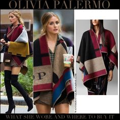 Olivia Palermo in black, red and biege color block wool poncho with black over the knee boots