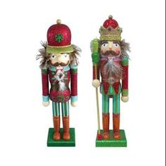 """Set of 2 Glittered King and Soldier Decorative Wooden Christmas Nutcrackers 14"""""""