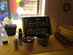 """Car themed party """"Re-Fuel Station"""" Served Grape Kool Aide as """"Motor Oil"""" and Sweet Tea as """"Brake Fluid"""""""