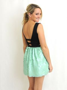 Cosmic Dust Sequin Cutout Dress - Mint + Black - $45.00 | Daily Chic Dresses | International Shipping