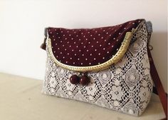 Polka Dot Lace Vintage style Metal frame purse/coin by hitomigift