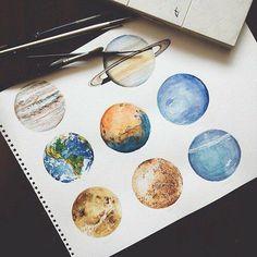 amazing, art, drawing, earth, jupiter, mars, painting, planets, saturn, neptun, uran