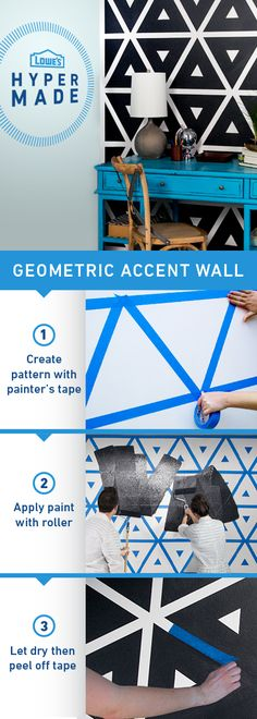 Geometric Accent Wall - Create fun patterns with painters tape to make any room more dynamic. Be sure to wait for the paint to dry completely before carefully peeling off the tape. Then enjoy your beautiful new design! Diy Wand, Mur Diy, Diy Wall Painting, Painting Tips, Wall Art, Painting Furniture, Interior Painting, Painting Walls Tutorial, Creative Wall Painting