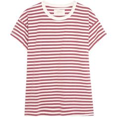 The Great Striped cotton-jersey T-shirt ($125) ❤ liked on Polyvore featuring tops, t-shirts, brick, red striped t shirt, red tee, distressed t shirt, distressed tee and vintage red t shirt