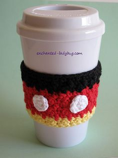 Free Crochet Mickey Mouse Coffee Cup Cozy Pattern - crochet mug cozy Crochet Coffee Cozy, Coffee Cup Cozy, Crochet Cozy, Crochet Crafts, Free Crochet, Coffee Cups, Crochet Projects, Crochet Chain, Crochet Geek