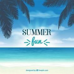 Fondo de verano con palmeras y mar