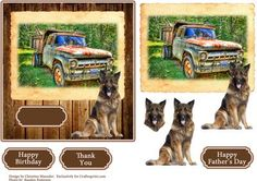 Dump Truck and German Shepard on Craftsuprint designed by Christine Maunder - A photo of a rusted dump truck with a German Shepard Dog. A card suitable for many occasions with blank sentiment plate. - Now available for download!