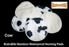 Waterproof Bamboo Nursing Pads - Cow Print by BubuBibi. $3.80. It's easy to care for - machine wash and tumble dry. Its porous fibres comfortably wicks moisture away from skin.. Waterproof on one side and bamboo on the other side. Absorbent layers of natural fabrics surged together to form a soft, reliable, washable nursing pad.. Extremely soft and luxurious, Hypoallergenic as well as naturally anti-bacterial - Perfect for mom with sensitive skin.. Pad for longer lasting, mak...