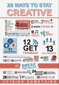 Stay creative! 29 ideas and tips. #infographic