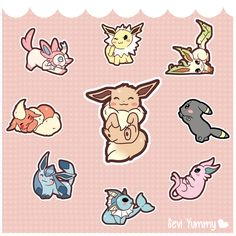 Chibi Eeveelutions by SeviYummy ... jolteon, leafeon, umbreon, espeon, vaporeon, glaceon, flareon, sylveon, eevee, pokemon