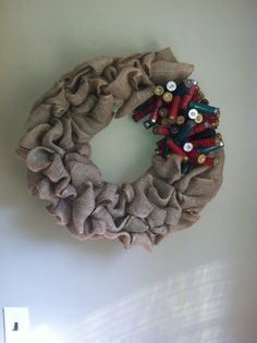 Natural Burlap Wreath with Red and Green Shotgun by TheNethouse