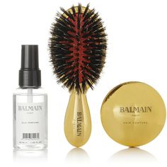 Balmain Paris Hair Couture Gold-plated Spa Brush Set ($155) ❤ liked on Polyvore featuring beauty products