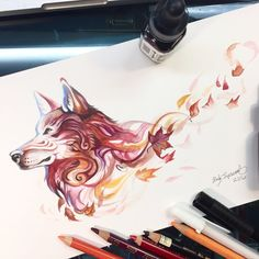 To continue with wolf uploads for Wolf Awareness Week, here is a little autumn wolf . I had a lot of fun with this one, especially since I haven't gotten to sit down and really wo...