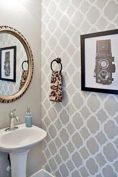 Delicieux A DIY Stenciled Powder Room Using The Rabat Allover Stencil In A Light  Gray. Http