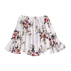 Floral Flare Sleeve Off Shoulder Blouse White ($18) ❤ liked on Polyvore featuring tops, blouses, flared sleeve blouse, bell sleeve blouse, white top, white blouse and floral print blouse