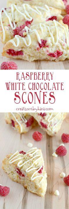 White Chocolate Raspberry Scones - Creations by Kara