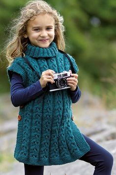 5d4ab4bee Free Knitting Pattern for Sorcha Cabled Child s Poncho - Tunic length  pullover with buttons on the