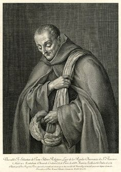 Portrait of the priest Sebastián de Jesús three-quarter length facing front, with piece of bread in his right hand and cloth over his left shoulder. 1782 Etching and engraving