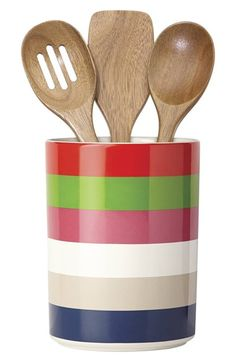kate spade new york 'all in good taste' 'deco' utensil crock & wooden spoons (Set of 4) at Nordstrom.com. Signature kate spade dots pattern a glazed ceramic utensil holder accompanied by a trio of kitchen-essential wooden spoons.