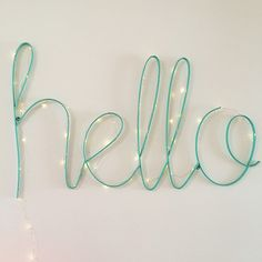 Hello sign and copper wire lights from LITTLE PAPER LANE www.littlepaperlane.com.au