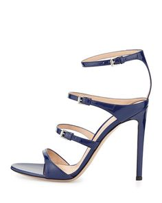 X2QSG Gianvito Rossi Ladder Strap Patent Sandal, Imperial Blue
