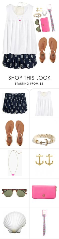 """""""~Sunshine's gonna wash my blues away~"""" by mary4claire ❤ liked on Polyvore featuring Madewell, Clu, Billabong, Kiel James Patrick, Kendra Scott, Fornash, Ray-Ban, Tory Burch and Lilly Pulitzer"""
