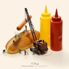 Incredible Miniature Calendar Photography by Japanese Artist Tatsuya Tanaka Miniature Photography, Toys Photography, Creative Photography, Arte Do Sushi, Miniature Calendar, Zebra Art, Tiny World, People Art, Japanese Artists