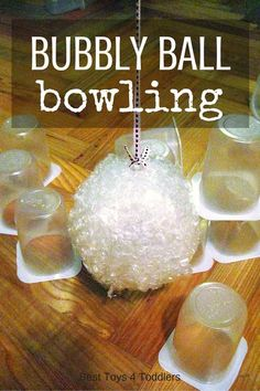 Best Toys 4 Toddlers - Using items from recycle bin we created fun game to play inside - Bubbly Ball Bowling game kids love!