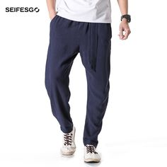 570dbdc0e17 2017 Chinese Traditional Autumn New Linen Trousers Men Loose Chinos Pants  Casual Kung Fu Joggers Men 4XL 5XL Male Harem Pants-in Harem Pants from  Men s ...