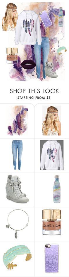 """FEATHERS!!!!!"" by cant-find-a-username ❤ liked on Polyvore featuring H&M, Giuseppe Zanotti, S'well, Alex and Ani, Smith & Cult, Lucky Brand, Casetify and Lime Crime"