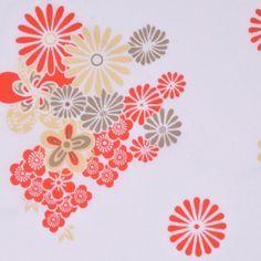 White/Bright Red/Light Beige/S Multicolor Floral Cotton Print