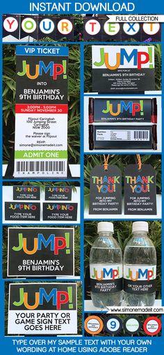 Trampoline Party Printables, Invitations & Decorations | Editable Birthday Party Theme templates | INSTANT DOWNLOAD $12.50 via SIMONEmadeit.com
