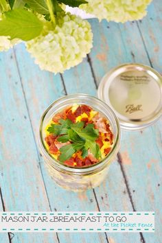 Super cute idea! Breakfast-in-a-mason-jar. Instead of layering you could cook a casserole in these jars