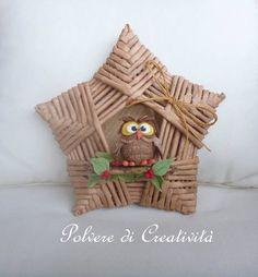 Basket Owl in Star Christmas Parol, Christmas Paper Crafts, Christmas Decorations, Christmas Ornaments, Paper Basket Weaving, Weaving Art, Creative Crafts, Diy And Crafts, Arts And Crafts