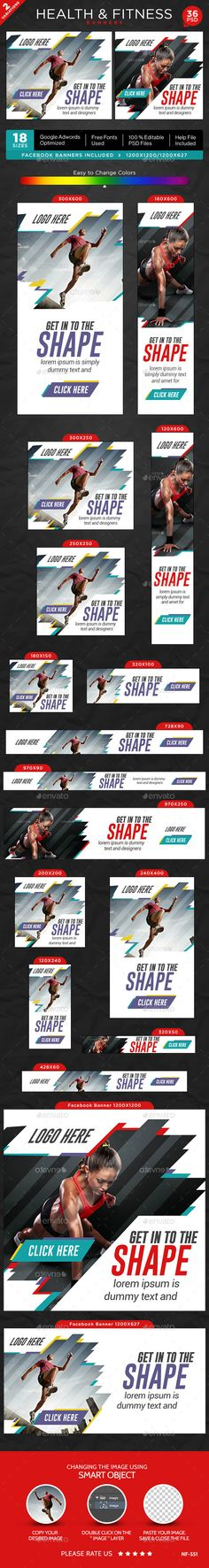 Buy Fitness Banners - 2 Sets by Hyov on GraphicRiver. Promote your Products and services related to fitness niche with this great looking Banner Set. Sports Banners, Hispanic Men, Banner Template, 2 Set, Glitch, Banner Design, Fonts, Health Fitness, Poster