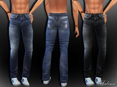 The Sims Resource: Men Realistic Wrangler Jeans by Saliwa • Sims 4 Downloads