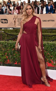 Laverne Cox looked stunning at the 2016 SAG Awards red carpet in her Prabal Gurung gown, but dres...
