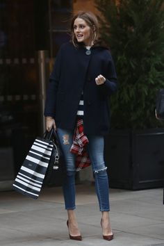 Olivia Palermo out in London. Skinny Jeans, Stilettos, + Oversized Navy Coat.  - ELLE.com