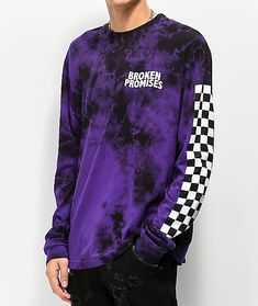 Show off some love for Broken Promises while enhancing your look with a some dark color when you rock the new Purple Punch Tie Dye Long Sleeve T-Shirt. Providing and eye-catching look, this cotton constructed garment features the brand's signature logo sc Tie Dye Shirts, Dye T Shirt, Vans Shirts, Purple Camo, Purple And Black, Tie Dye Long Sleeve, Long Sleeve Shirts, Purple Punch, Broken Promises