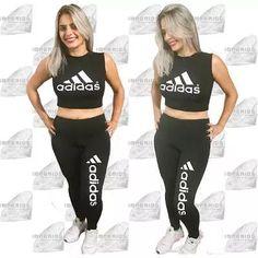 official photos bc88a 271f4 Conjunto Adidas Calça Legging E Cropped Roupas Feminina
