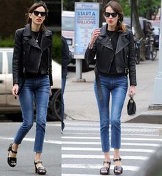 alexa chung leather jacket - Google Search