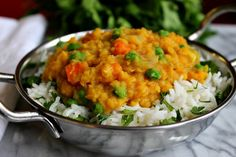 Curried Vegetable Dal over Cilantro Lime Rice by Parsley In My Teeth #vegan #vegetarian