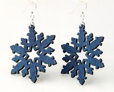 Snow flakes  Laser Cut Wood Earrings by GreenTreeJewelry on Etsy, $12.95