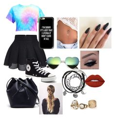 slay all day girly # cropdrop by ihascupquake270 on Polyvore featuring polyvore fashion style Converse Lacoste Casetify Lime Crime clothing