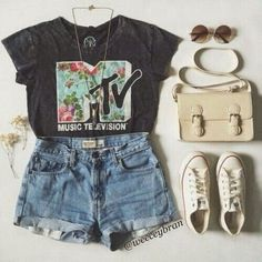 Shirt: mtv vintage music festival floral converse denim shorts bag sunglasses t