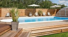 wood deck round above ground pool Pool Spa, Riviera Pool, Raised Pools, Raised Deck, Round Above Ground Pool, Natural Swimming Pools, Small Pools, Dream Pools, In Ground Pools