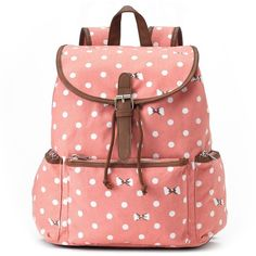 Candie's Nicole Polka-Dot & Bows Backpack (Pink) ($24) ❤ liked on Polyvore featuring bags, backpacks, pink, pink backpack, red drawstring backpack, red bag, drawstring backpack and bow backpack