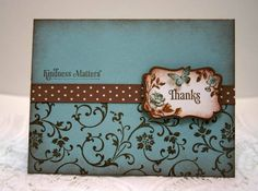 Elements Of Style, Four Frames, and Kindness Matters sets by Stampin' Up. Baja Breeze cardstock with Soft Suede ribbon and inks. 8-28-11