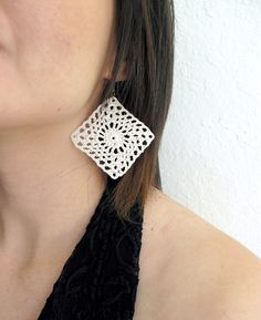 Squares Crocheted Earrings  Lacy White by Fr33na on Etsy, $11.55
